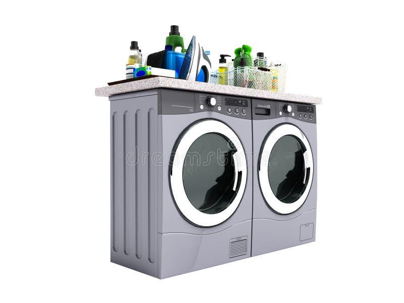 洗衣机和烘干机的概念有洗涤剂的隔绝了3d翻译在白色背景没有阴影 皇族释放例证