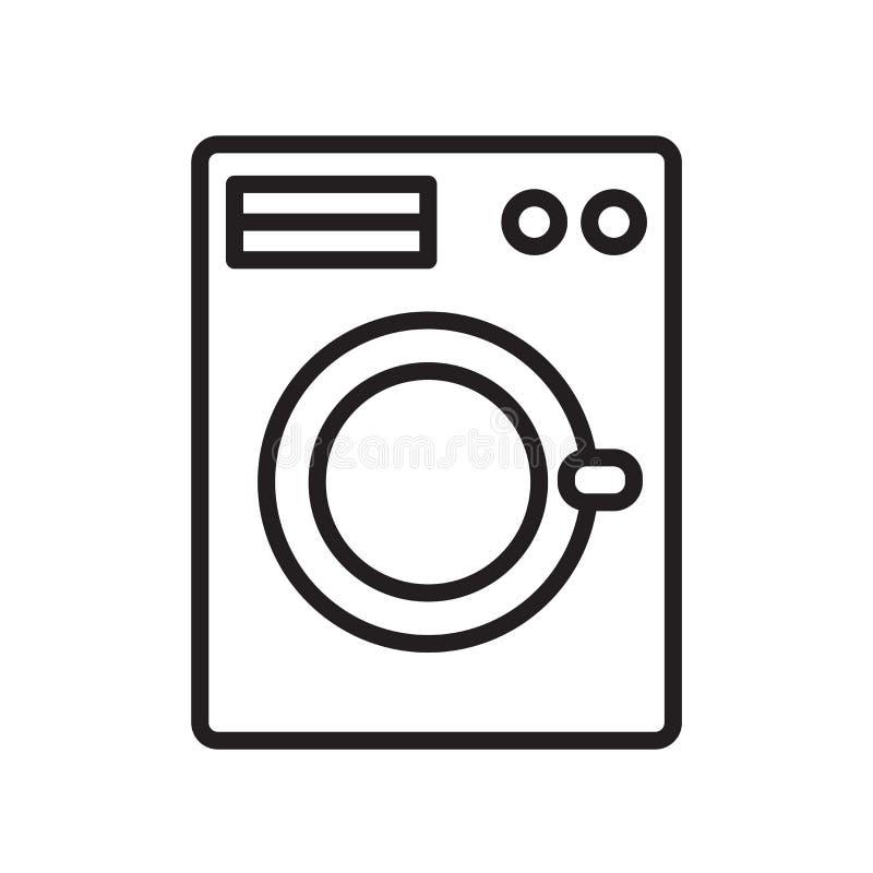 洗衣机在白色背景、洗衣机标志、线性标志和冲程设计元素隔绝的象传染媒介  向量例证