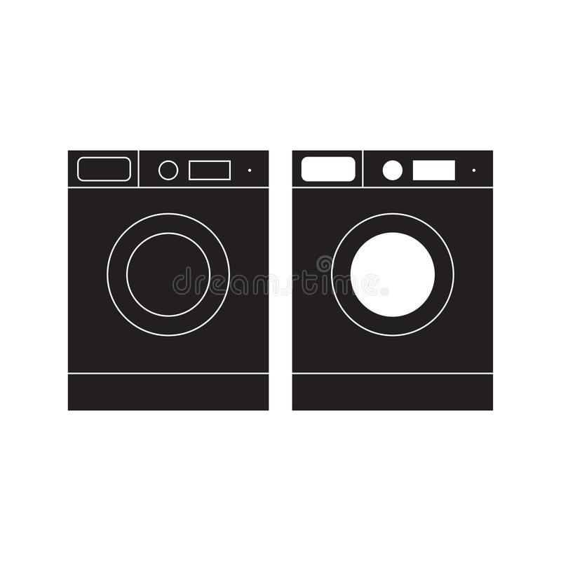 洗衣机象传染媒介例证 洗衣机平的标志 背景查出的白色 皇族释放例证