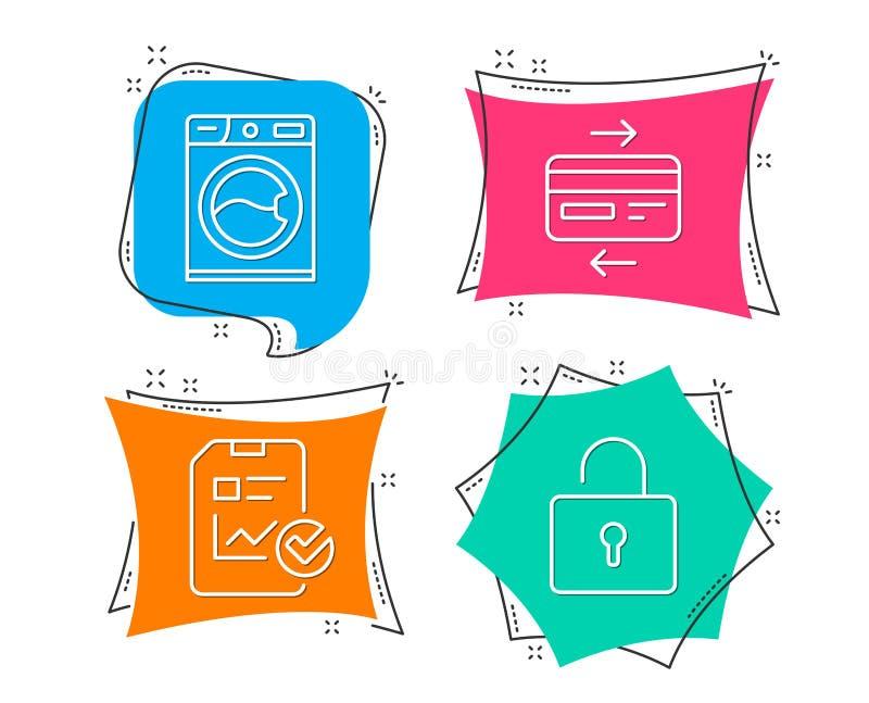 洗衣机,信用卡和报告清单象 锁定符号 皇族释放例证