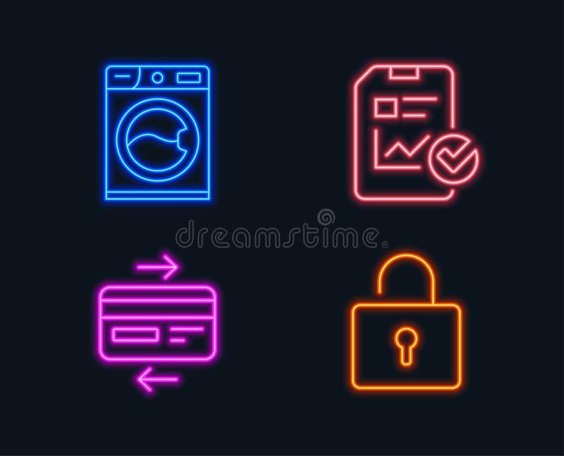 洗衣机,信用卡和报告清单象 锁定符号 库存例证