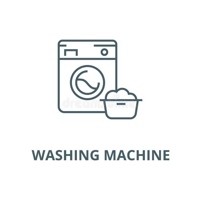 洗衣机,洗衣服务传染媒介线象,线性概念,概述标志,标志 向量例证
