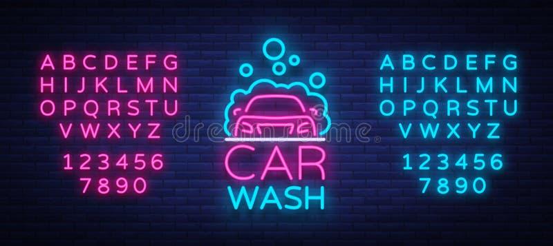 洗车商标在被隔绝的霓虹样式传染媒介例证的传染媒介设计 模板,概念,在a的光亮牌象 库存例证
