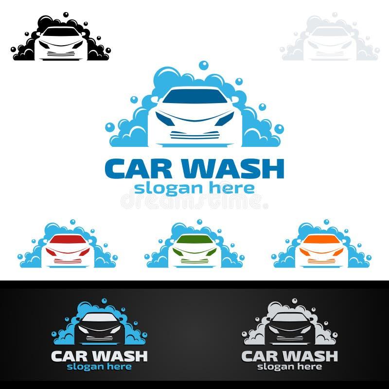 洗车商标,清洗的汽车、洗涤物和服务传染媒介商标设计 向量例证