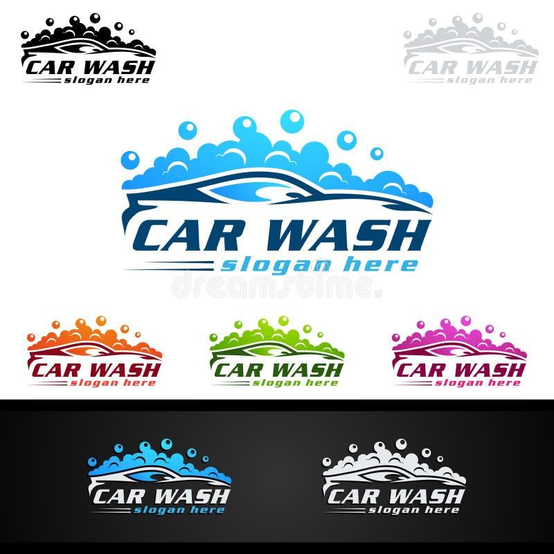 洗车商标,清洗的汽车、洗涤物和服务传染媒介商标设计 皇族释放例证