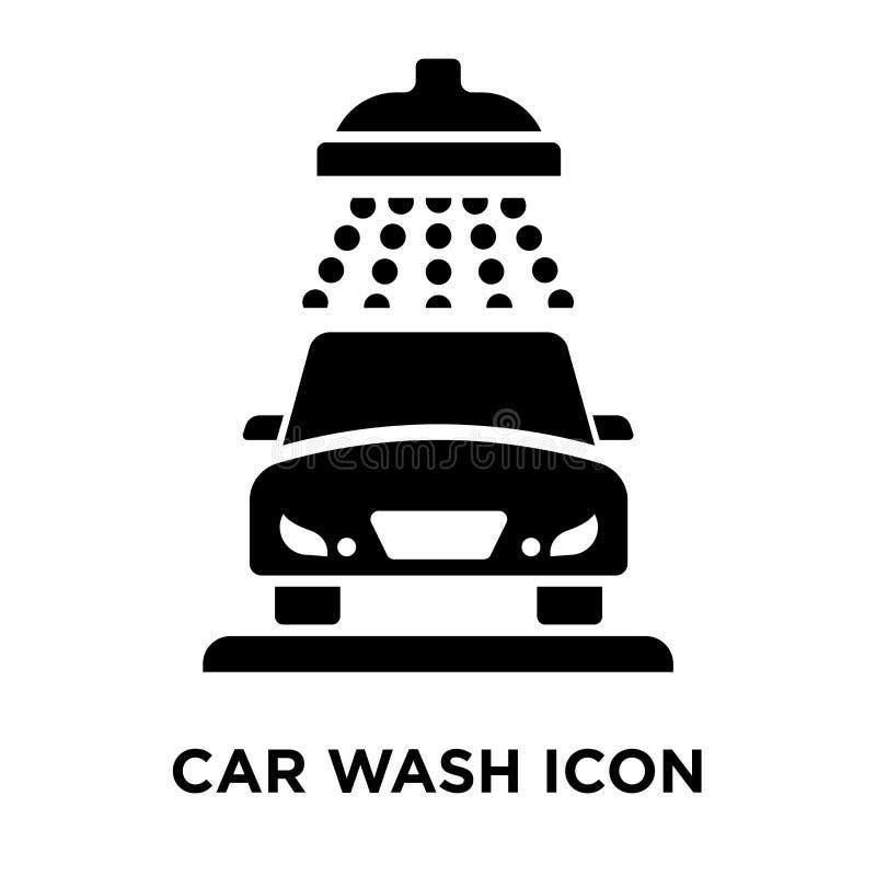 洗车在白色背景隔绝的象传染媒介,商标概念 皇族释放例证