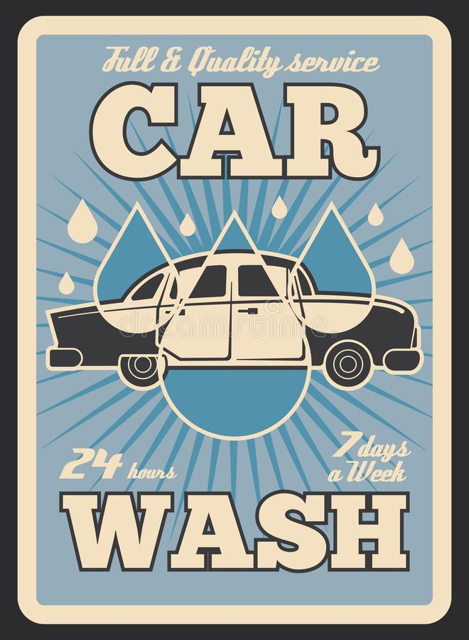 洗车服务传染媒介减速火箭的海报 库存例证