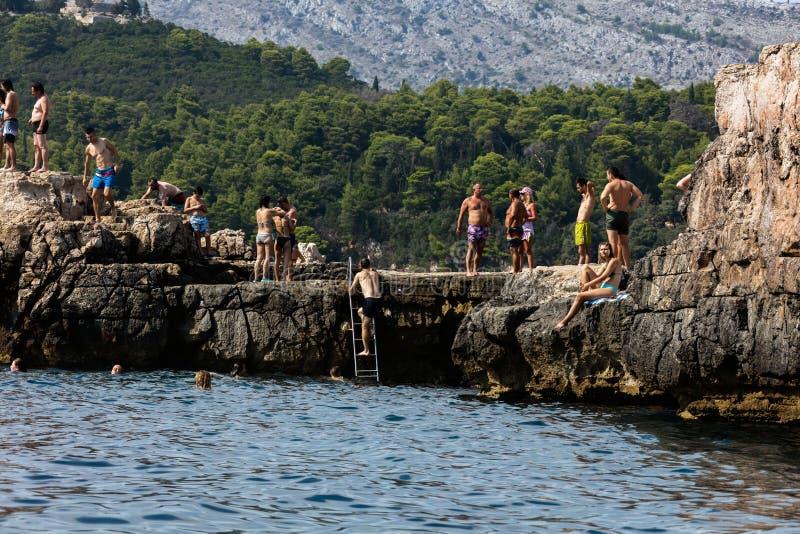 洛克鲁姆岛海岛,在杜布罗夫尼克附近  图库摄影