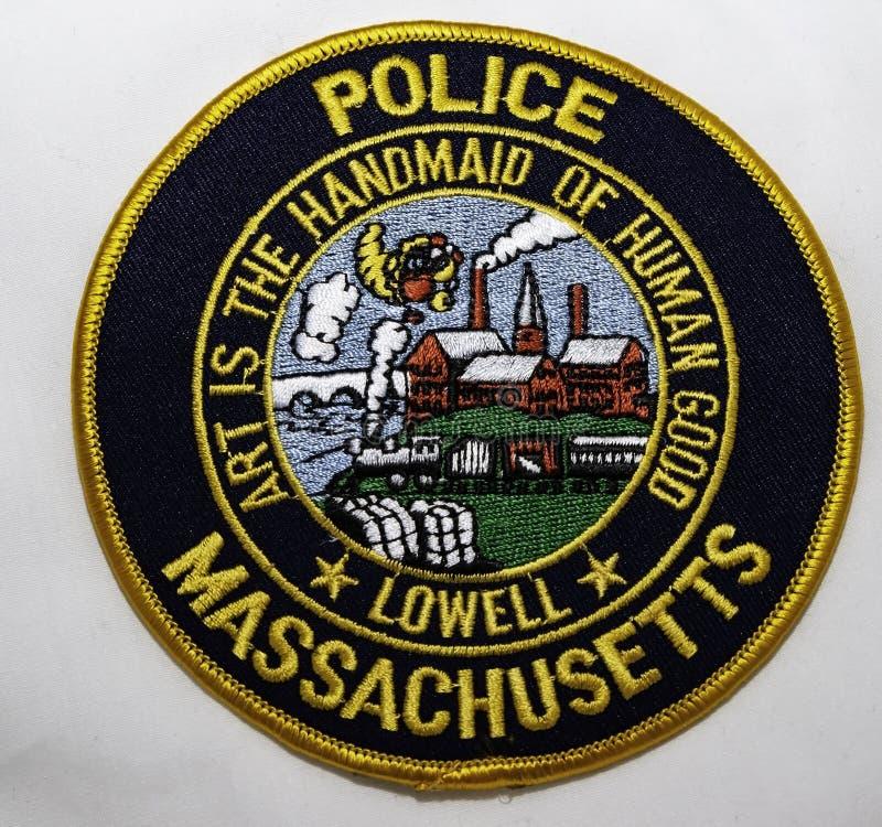 洛厄尔警察局的肩章在马萨诸塞 图库摄影