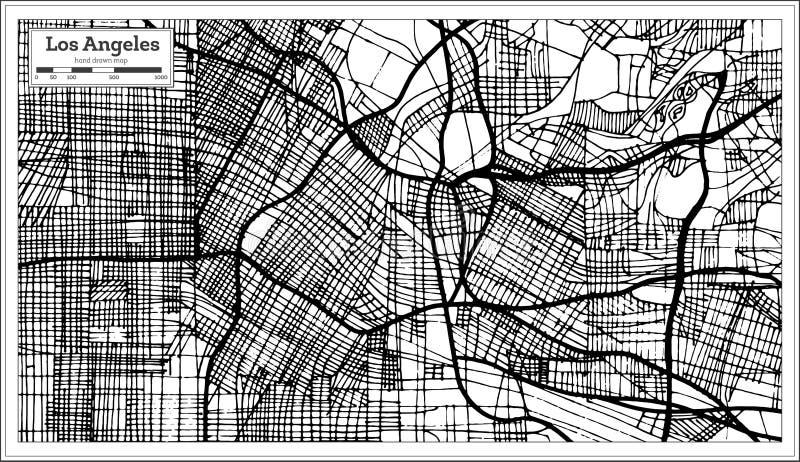 洛杉矶加利福尼亚美国在减速火箭的样式黑色和Whi的市地图 皇族释放例证