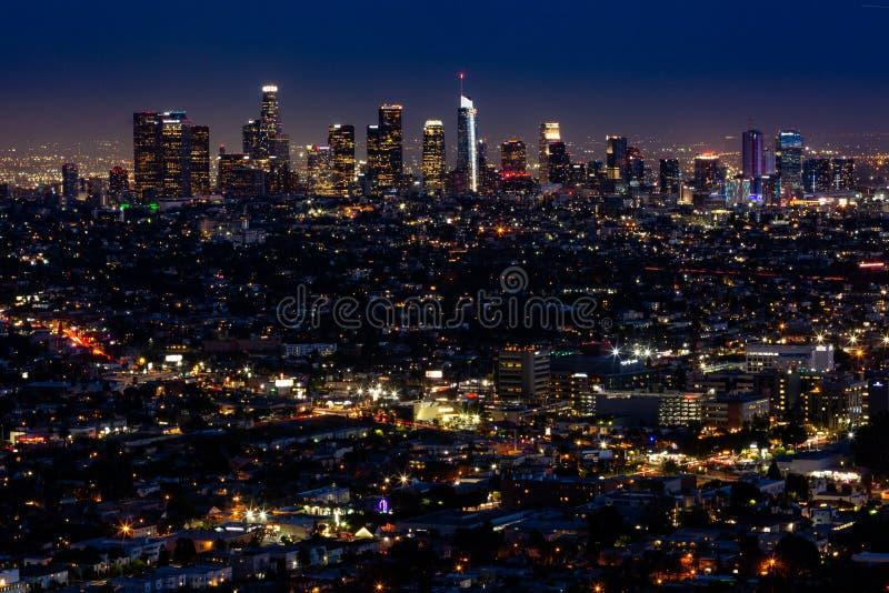 洛杉矶在晚上 图库摄影