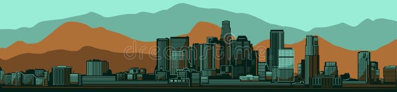 洛杉矶地平线城市 减速火箭的绿色/褐色山景版本 库存例证
