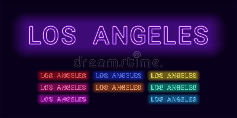 洛杉矶市的霓虹名字 库存例证
