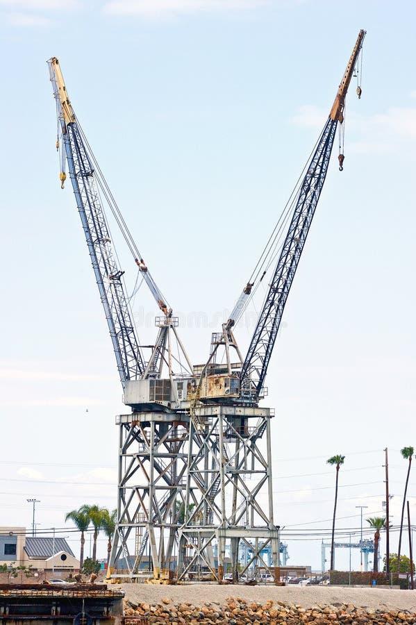 洛杉矶港口起重机 免版税库存图片