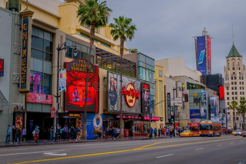 洛杉矶,加利福尼亚,美国, 2018年6月, 15日:室外图od商店和市场在街道在好莱坞大道 免版税库存照片