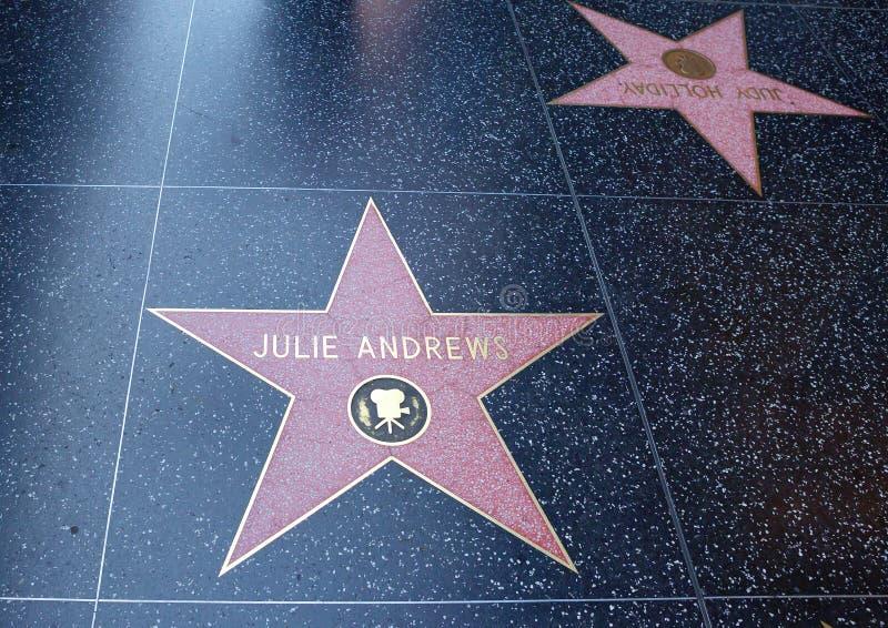 洛杉矶,美国,在好莱坞大道的星 安德鲁斯朱丽 免版税图库摄影