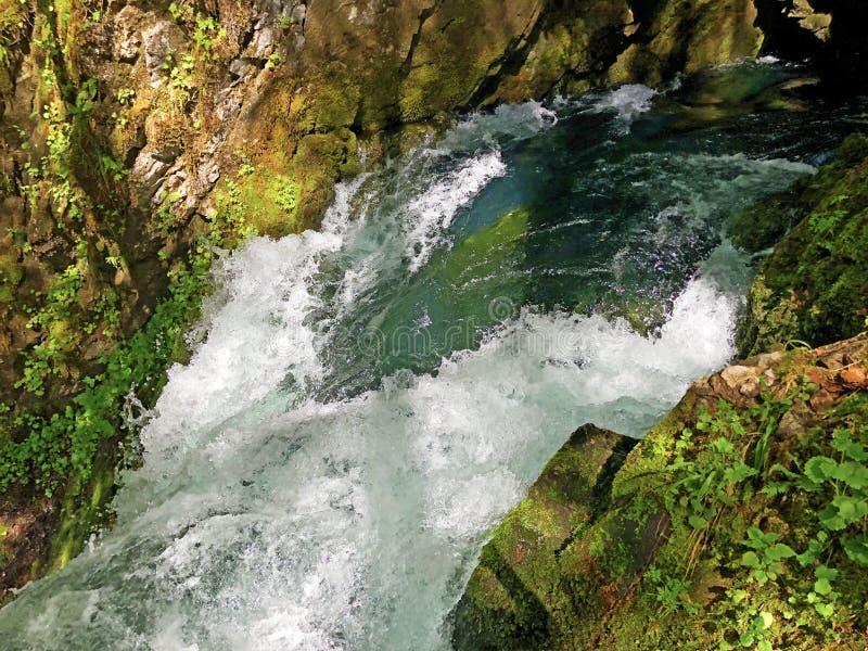 洞和来源由高山湖瓦吉塔莱尔湖或Waegitalersee,Innerthal的Hundsloch 库存照片