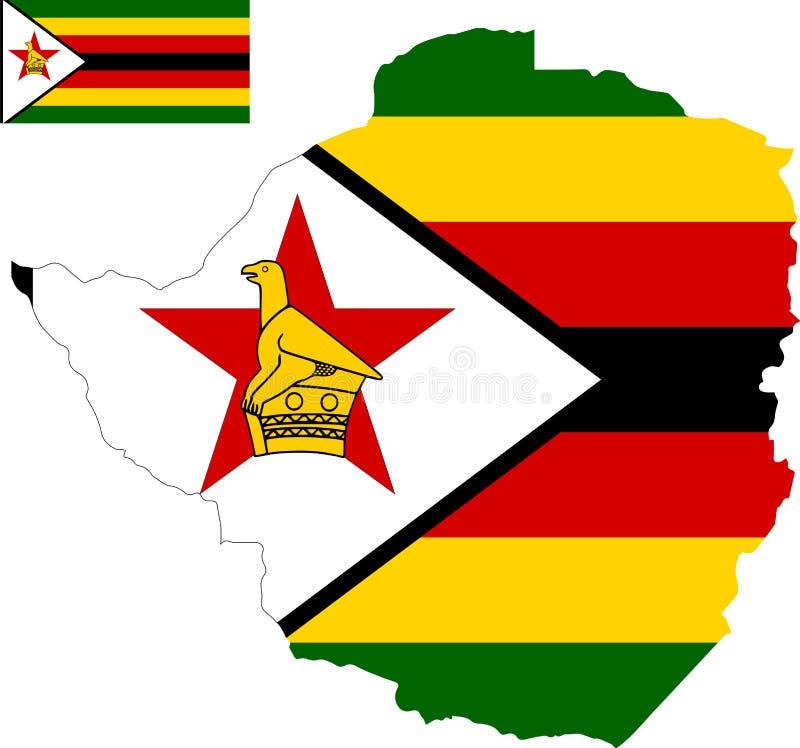 津巴布韦的传染媒介地图有旗子的 被隔绝的,白色背景 免版税库存图片