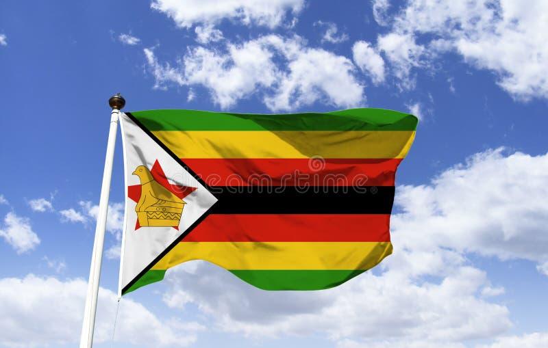 津巴布韦的旗子,鸟鸡血石 免版税库存照片