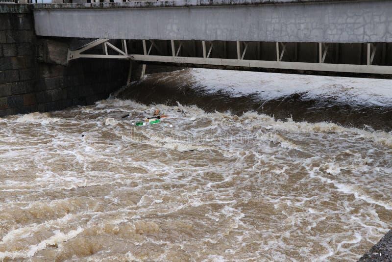 洪水在捷克,可以2019年 水位高拿走了进来她的方式的一切 肮脏,棕色水滚动 免版税库存照片