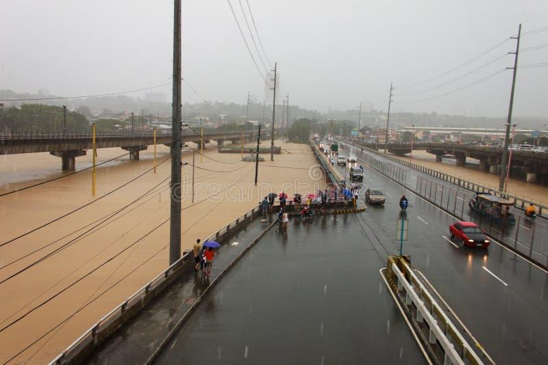 洪水在马尼拉,菲律宾 免版税图库摄影