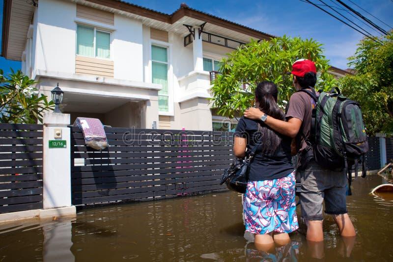 洪水房子超越泰国水 库存图片