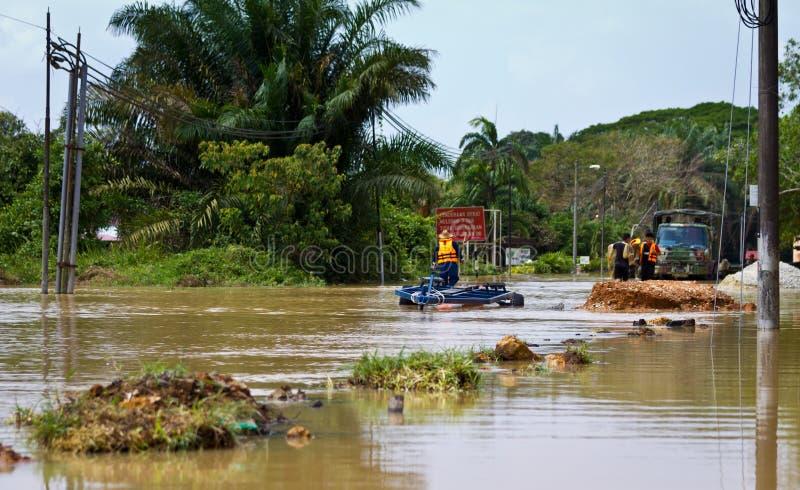 洪水自然灾害在Panchor,在2011年马来西亚发生 免版税图库摄影