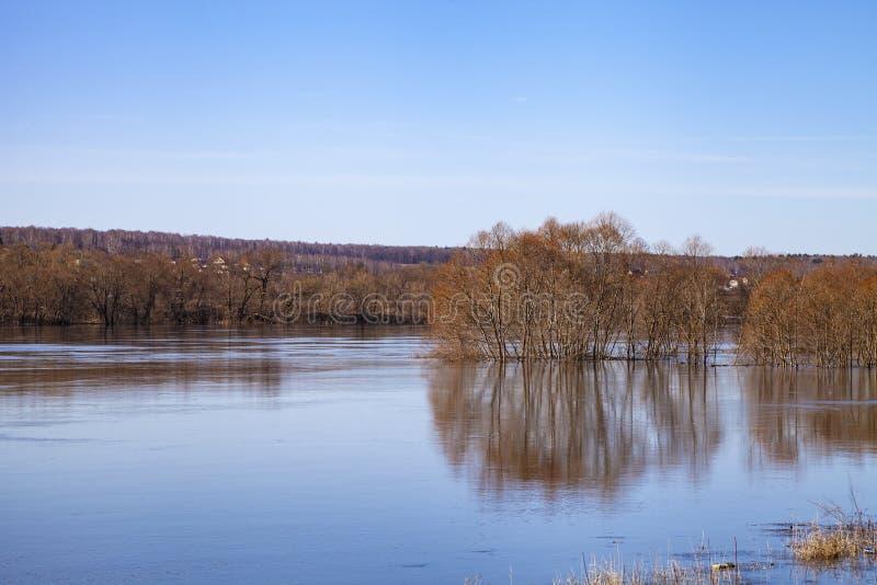 洪水oka全景河春天 库存照片