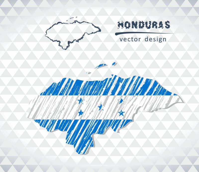洪都拉斯与在白色背景隔绝的旗子里面的传染媒介地图 剪影白垩手拉的例证 向量例证