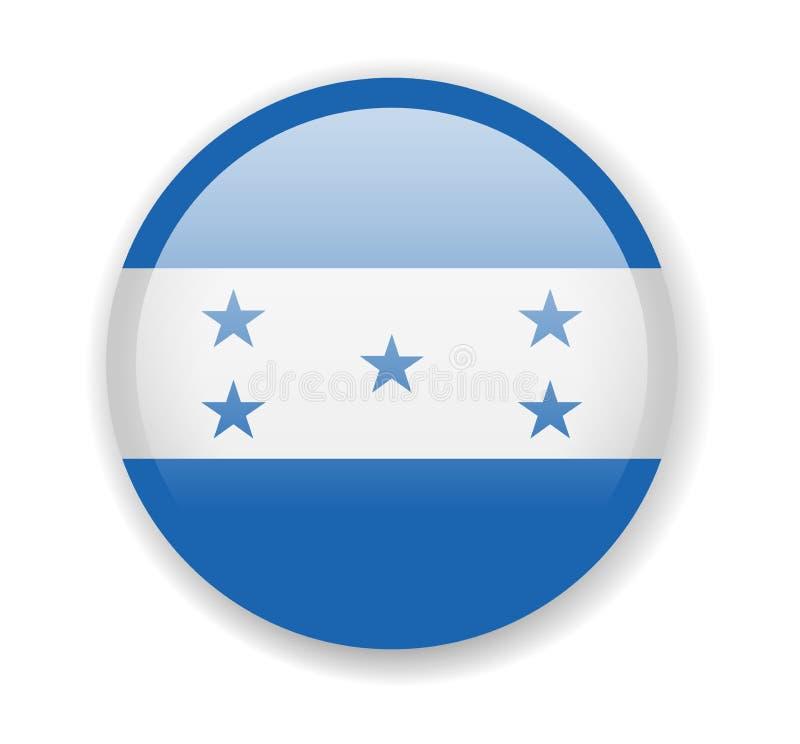 洪都拉斯旗子 在白色背景的圆的明亮的象 库存例证
