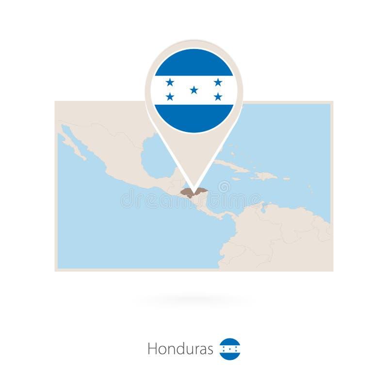洪都拉斯的长方形地图有洪都拉斯的别针象的 皇族释放例证