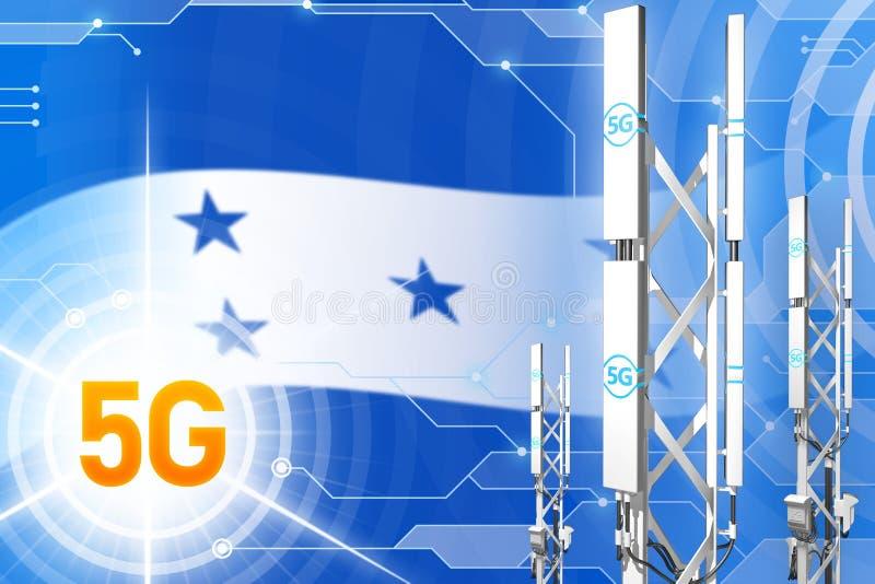 洪都拉斯5G工业例证、大多孔的网络帆柱或者塔在数字背景与旗子- 3D例证 向量例证