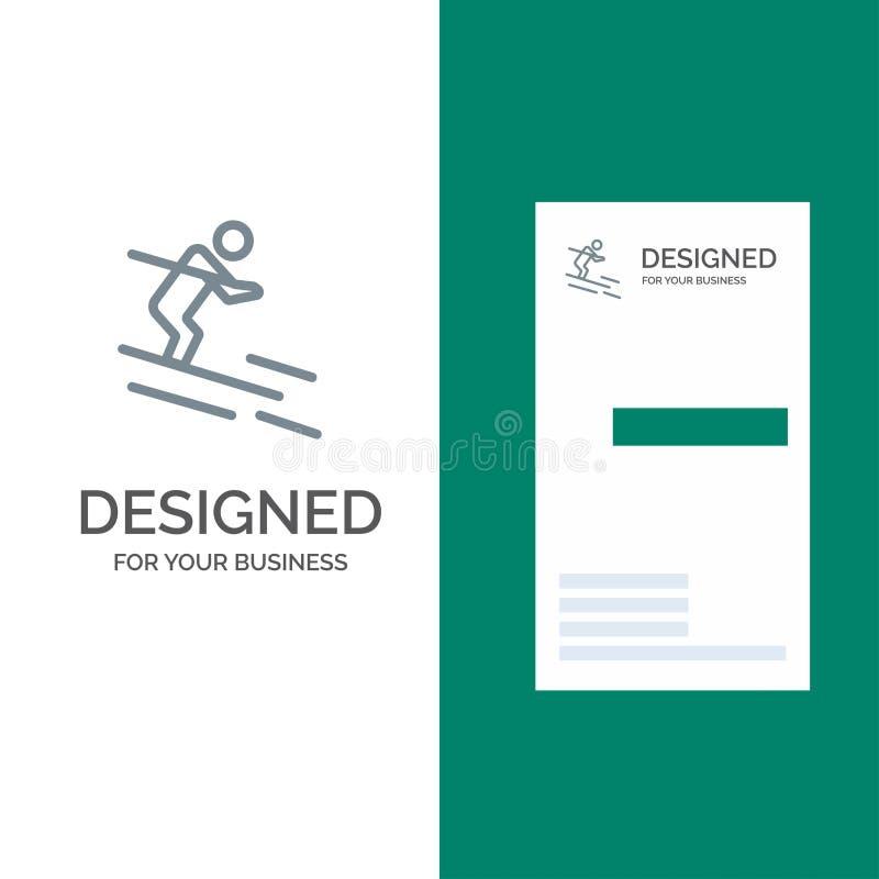 活动、滑雪、滑雪、运动员灰色商标设计和名片模板 库存例证