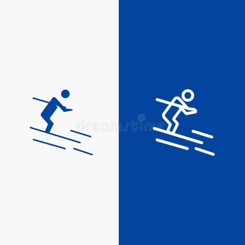 活动、滑雪、滑雪、运动员线和纵的沟纹坚实象蓝色旗和纵的沟纹坚实象蓝色横幅 向量例证