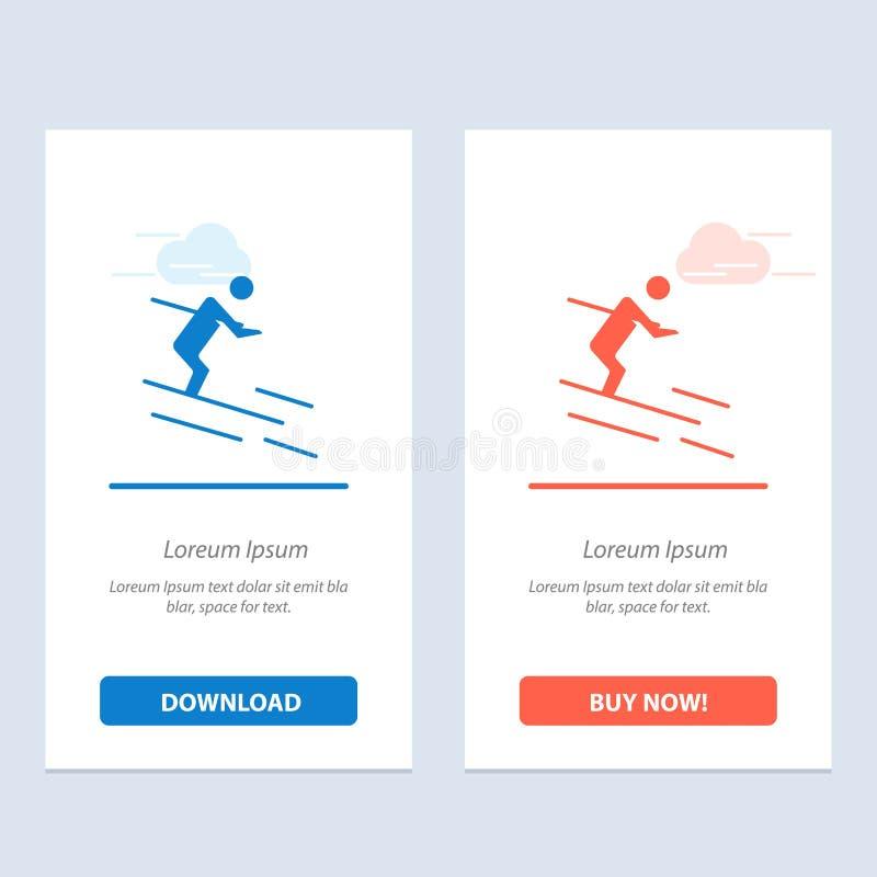 活动、滑雪、滑雪、运动员蓝色和红色下载和现在买网装饰物卡片模板 向量例证