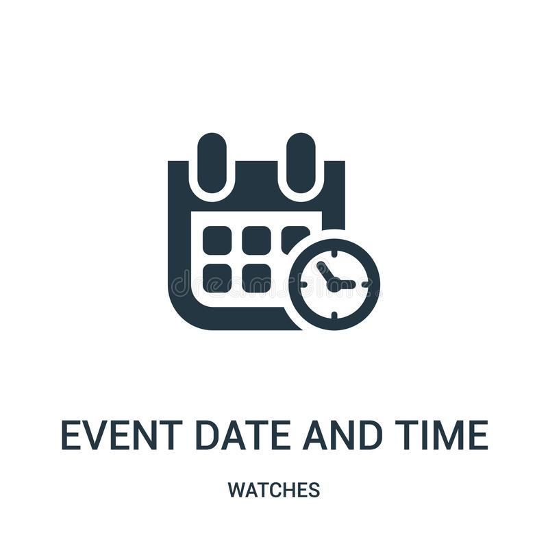 活动日期和时间标志象传染媒介从手表收藏 稀薄的线活动日期和时间标志概述象传染媒介 向量例证