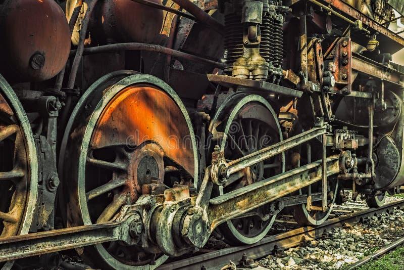 活动老标尺蒸轮子 免版税库存图片