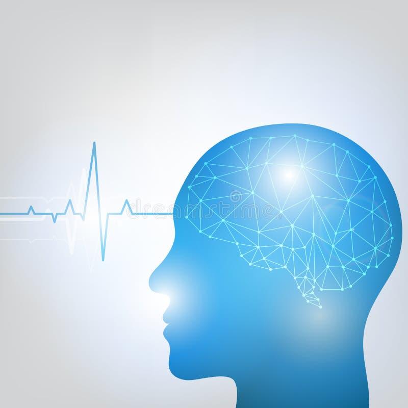 活动背景脑子另外数字式顶头人力例证亲切的导致的显示的波形形式 向量例证