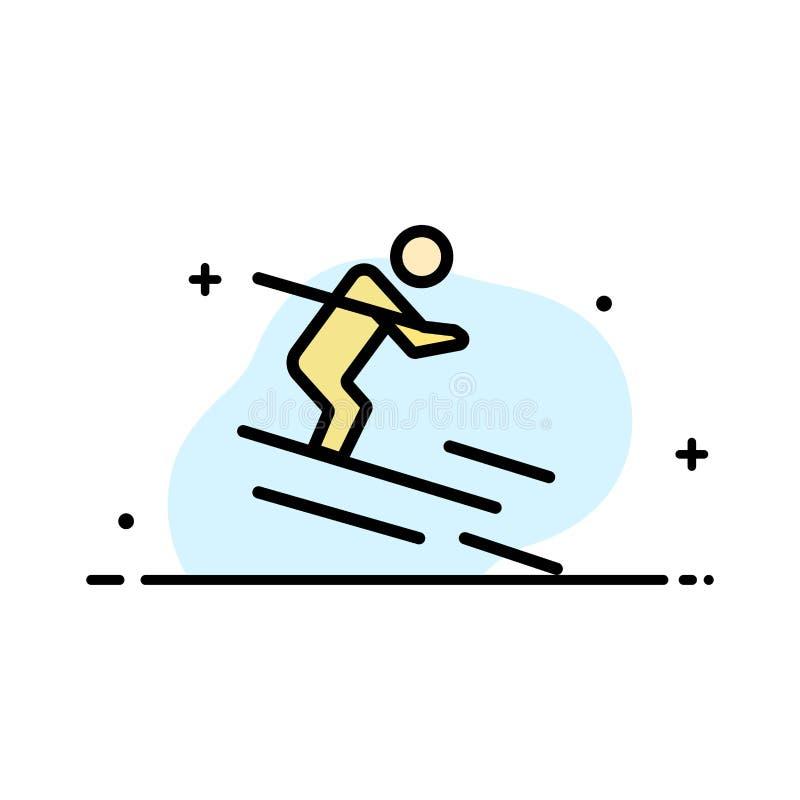 活动,滑雪,滑雪,运动员企业平的线填装了象传染媒介横幅模板 皇族释放例证