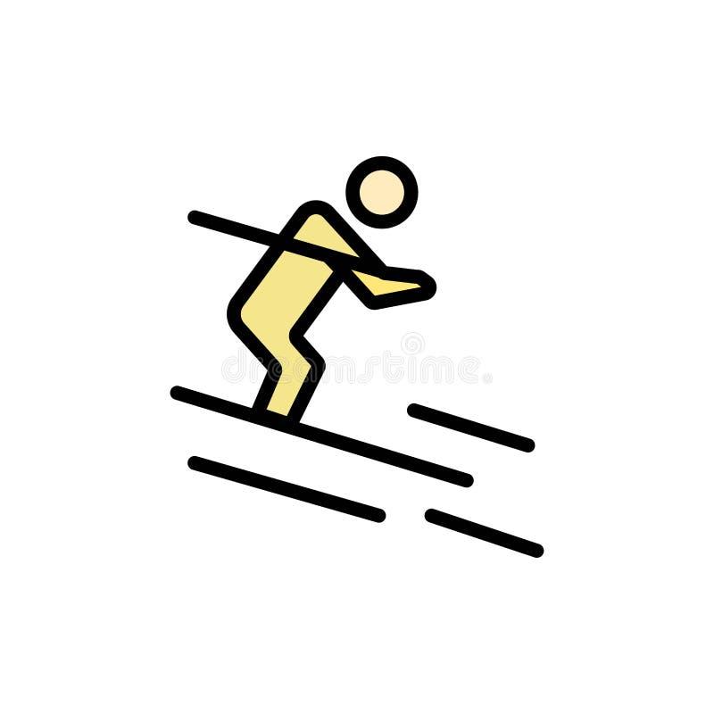 活动,滑雪,滑雪,运动员平的颜色象 传染媒介象横幅模板 向量例证