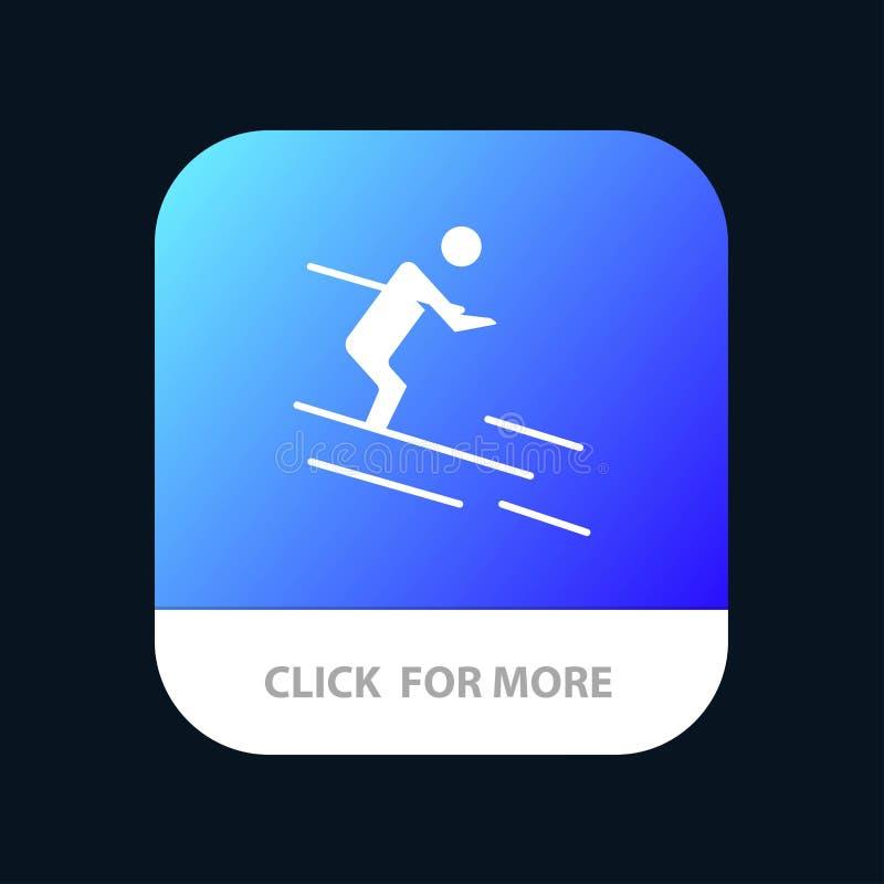 活动,滑雪,滑雪,运动员流动应用程序按钮 机器人和IOS纵的沟纹版本 库存例证