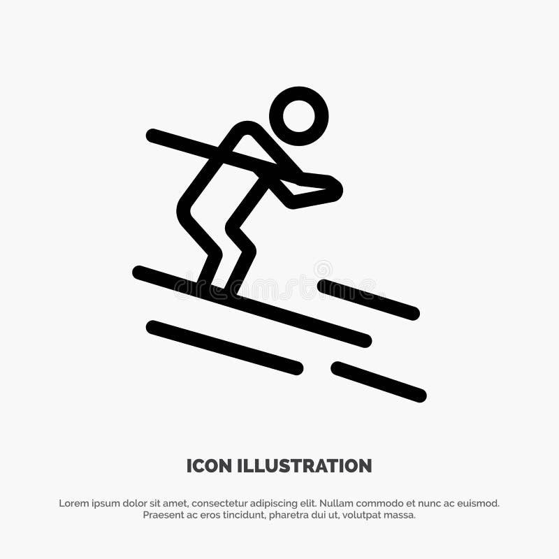 活动,滑雪,滑雪,运动员线象传染媒介 皇族释放例证