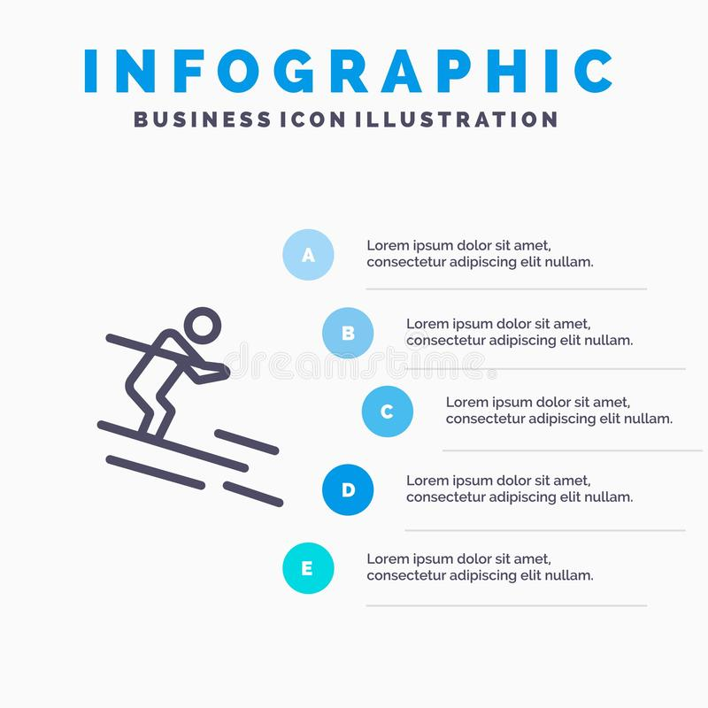 活动,滑雪,滑雪,运动员线象有5步介绍infographics背景 皇族释放例证