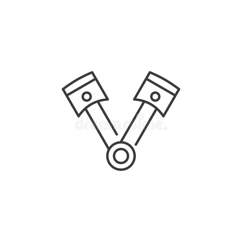活塞象线对在白色背景的 向量例证