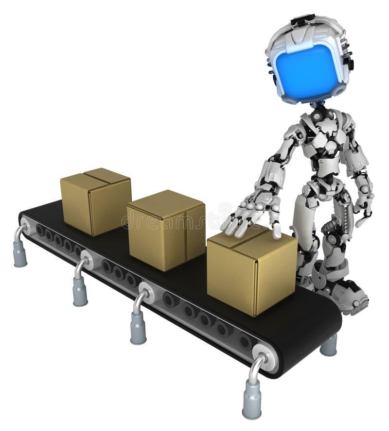 活屏幕机器人,传动机箱子检查 库存例证