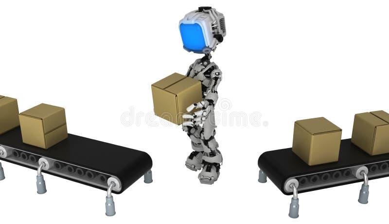 活屏幕机器人,传动机箱子调动 向量例证