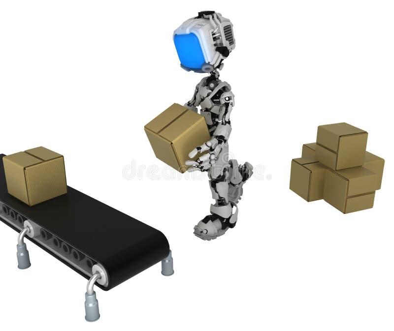 活屏幕机器人,传动机箱子运载 库存例证