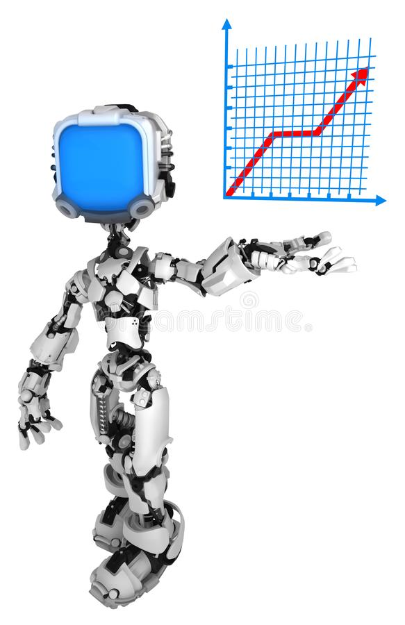 活屏幕机器人,图表成长 皇族释放例证