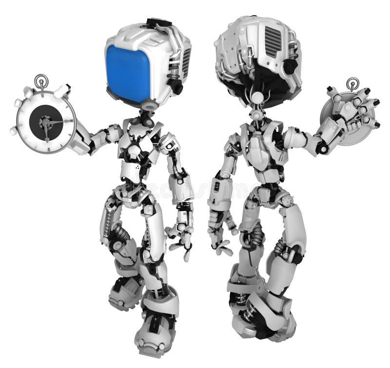 活屏幕机器人,拿着手表 皇族释放例证