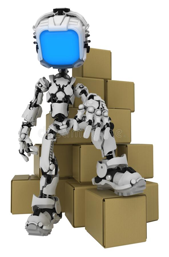 活屏幕机器人,纸板箱 皇族释放例证